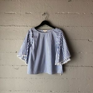 - ella moss pom pom sleeve blouse